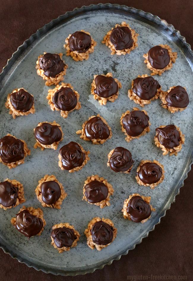 Platter with about 2 dozen Gluten-free Peanut Butter Butterscotch Crispy Bites