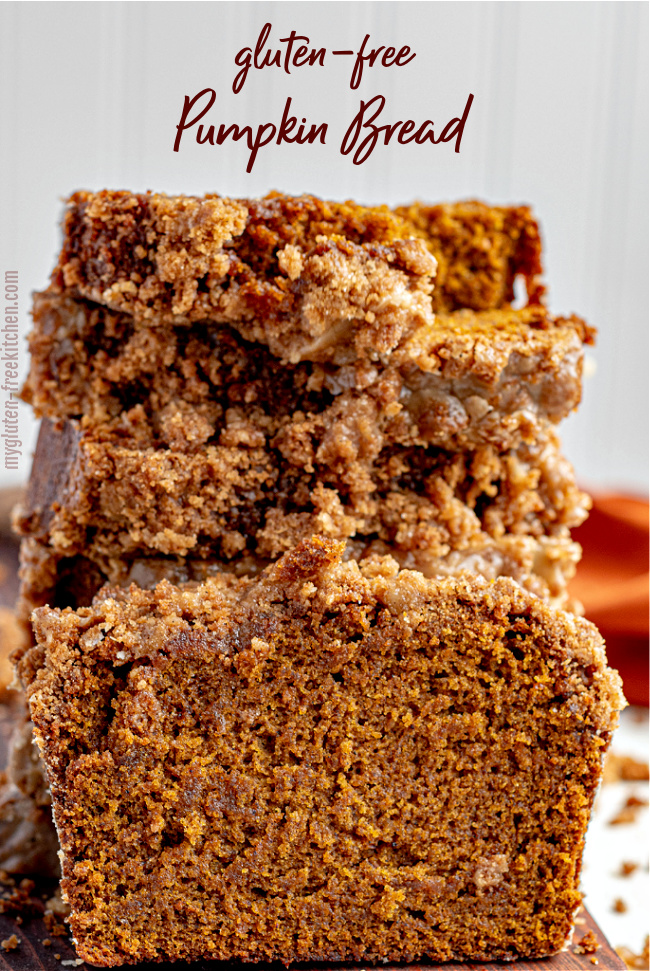 Stack of slices of Gluten-free Pumpkin Bread