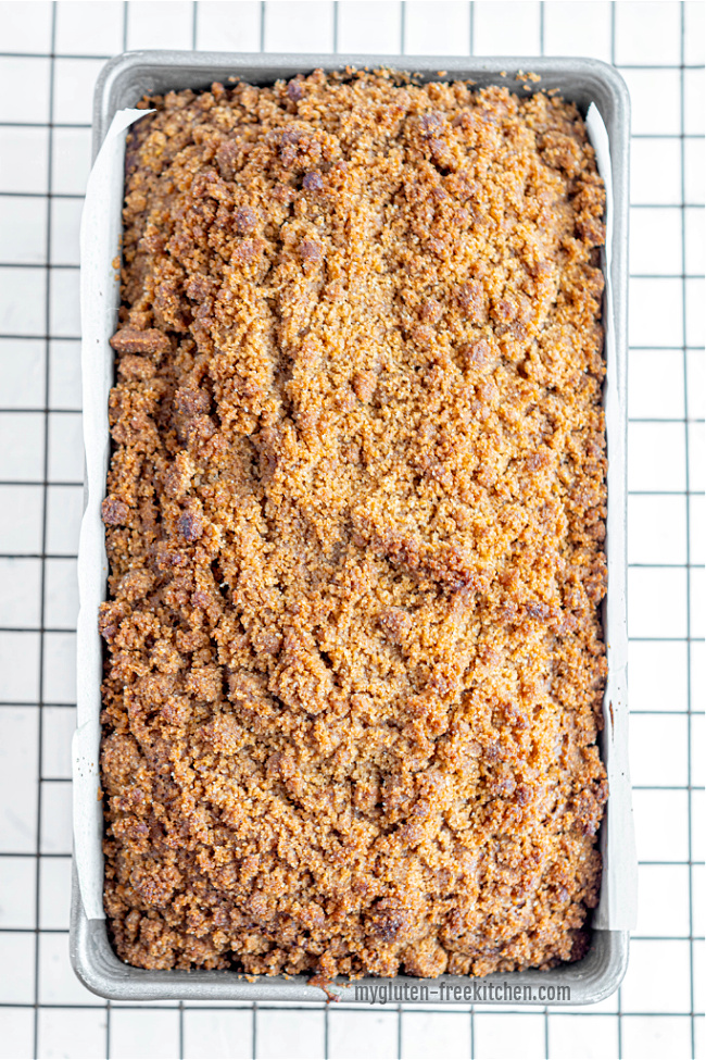 Loaf of Gluten-free Pumpkin Streusel Bread on cooling rack