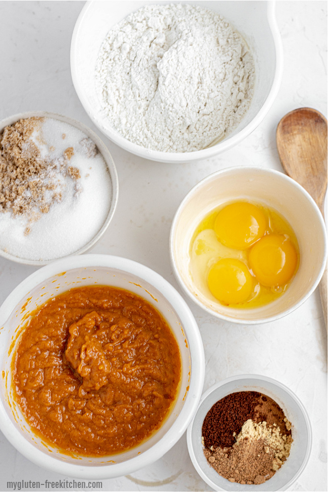 Ingredients for gluten-free pumpkin bread